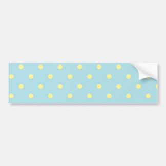 Trendy Cute  Aqua Yellow Polka Dots Pattern Bumper Stickers