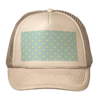 Trendy Cute  Aqua Yellow Polka Dots Pattern Cap