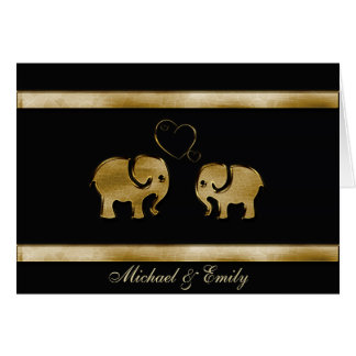 Trendy cute black /golden elephant in love card