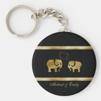 Trendy cute black /golden elephant in love key ring