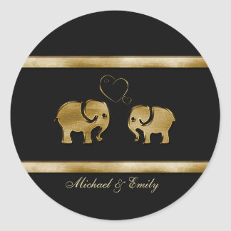 Trendy cute black /golden elephant in love round sticker