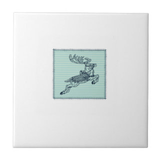 Trendy cute Christmas reindeer patchwork Small Square Tile