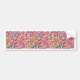 Trendy cute colorful abstract mosaic bumper sticker