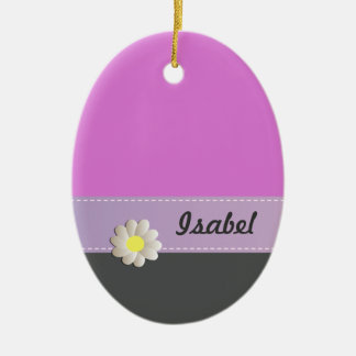 Trendy cute daisy pink gray christmas ornament