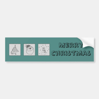 Trendy cute funny Christmas patchwork holiday Bumper Sticker