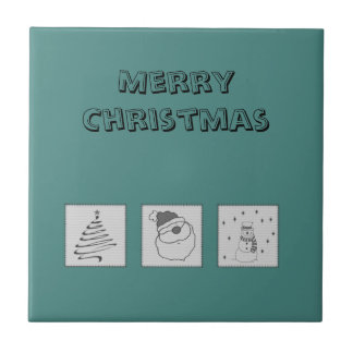 Trendy cute funny Christmas patchwork holiday Ceramic Tiles