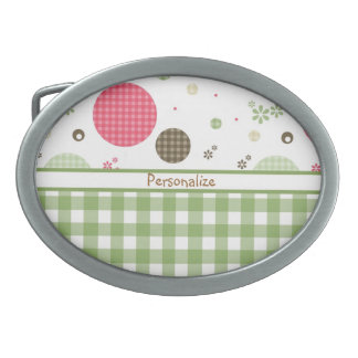 Trendy Cute Gingham Polka Dots With Name Belt Buckle