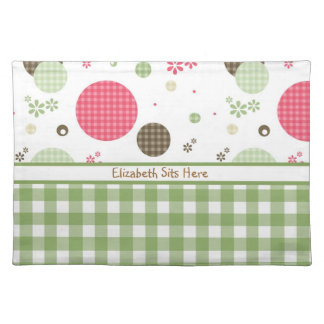 Trendy Cute Gingham Polka Dots With Name Placemat