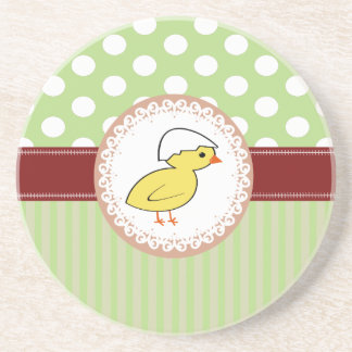 Trendy cute girly baby chicken Easter Drink Coaster