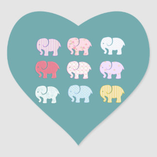 Trendy cute girly modern colorful elephants heart sticker