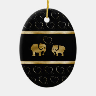 Trendy cute luxury  black /golden elephant in love christmas ornament