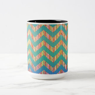 Trendy Cute Pastel Zig Zag Two-Tone Coffee Mug