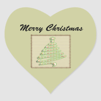 Trendy cute patchwork  Christmas tree Heart Sticker
