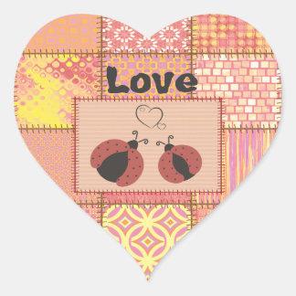 Trendy cute patchwork ladybugs in love heart sticker