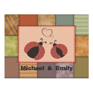 Trendy cute patchwork ladybugs in love post cards