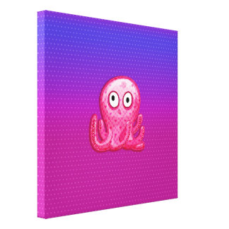 Trendy Cute Pink and Purple Octopus Stretched Canvas Print