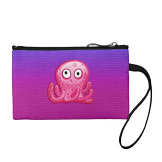 Trendy Cute Pink and Purple Octopus Coin Purse