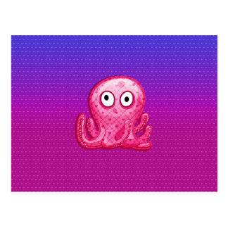 Trendy Cute Pink and Purple Octopus Postcard