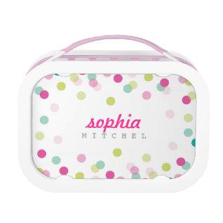 TRENDY cute polka dot confetti pattern pink green Lunchbox