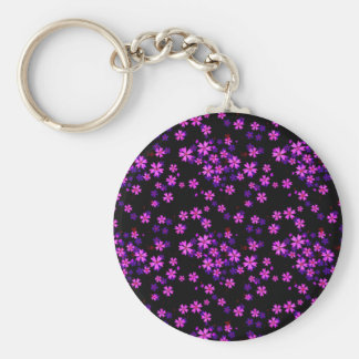 Trendy Cute Purple and Black Floral Print Basic Round Button Key Ring