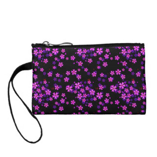 Trendy Cute Purple and Black Floral Print Coin Purse