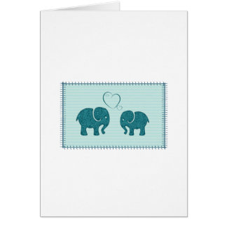 Trendy cute romantic elephants in love patchwork greeting cards