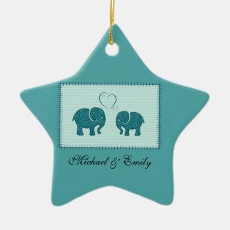 Trendy cute romantic elephants in love patchwork ceramic star decoration