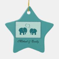 Trendy cute romantic elephants in love patchwork