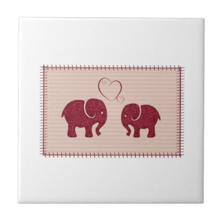 Trendy cute romantic elephants in love patchwork small square tile