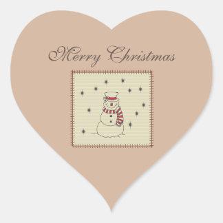 Trendy cute snowman winter  holiday patcwork heart sticker