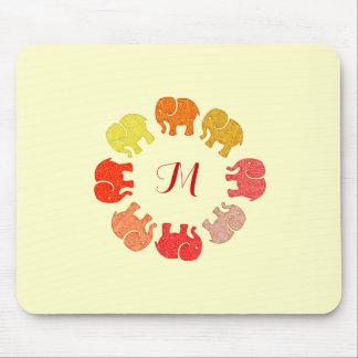 Trendy cute stylish  monogram elephants mouse pad
