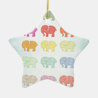 Trendy cute vintage colorful elephant ceramic star decoration