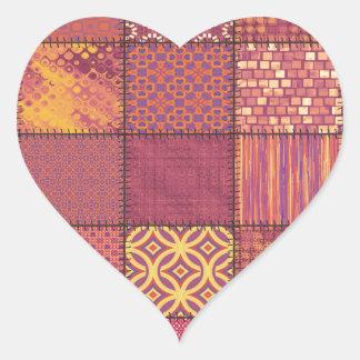 Trendy cute vintage elegant colorful patchwork heart sticker