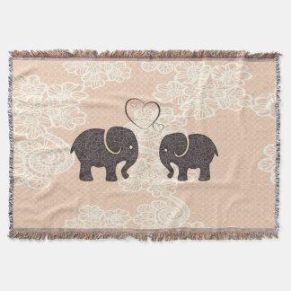 Trendy cute vintage elegant lace elephants in love throw blanket