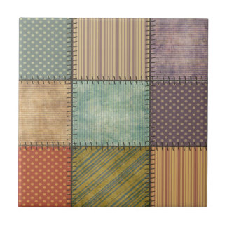 Trendy cute vintage retro colorful patchwork tiles