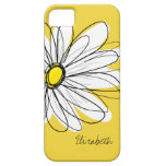 Trendy Daisy Floral Illustration - blackand yellow iPhone 5 Case