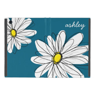 Trendy Daisy Floral Illustration - blue and yellow iPad Mini Case