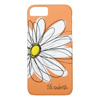 Trendy Daisy Floral Illustration Custom name iPhone 7 Case