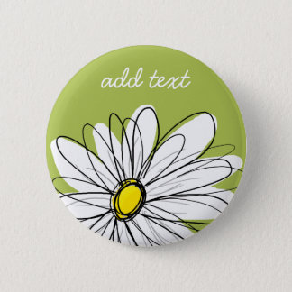 Trendy Daisy Floral Illustration - lime and yellow 6 Cm Round Badge
