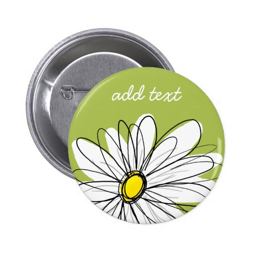 Trendy Daisy Floral Illustration - lime and yellow Pinback Buttons