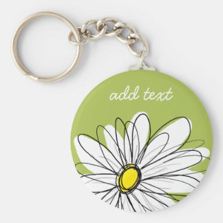 Trendy Daisy Floral Illustration - lime and yellow Basic Round Button Key Ring
