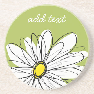 Trendy Daisy Floral Illustration - lime and yellow Beverage Coasters