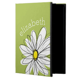 Trendy Daisy Floral Illustration - lime and yellow
