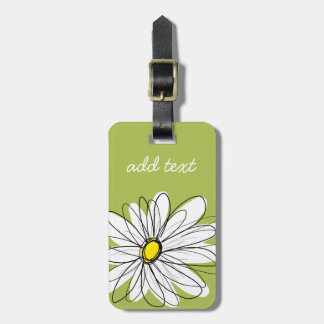 Trendy Daisy Floral Illustration - lime and yellow Luggage Tags