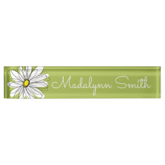 Trendy Daisy Floral Illustration - lime and yellow Nameplate