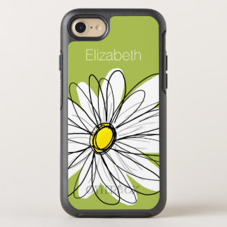 Trendy Daisy Floral Illustration - lime and yellow OtterBox Symmetry iPhone 8/7 Case