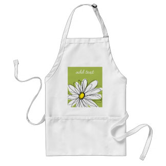 Trendy Daisy Floral Illustration - lime and yellow Standard Apron