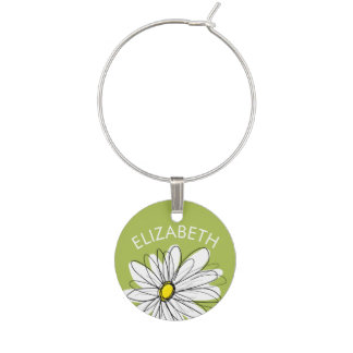Trendy Daisy Floral Illustration - lime and yellow Wine Glass Charm