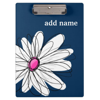 Trendy Daisy Floral Illustration - navy and pink Clipboard