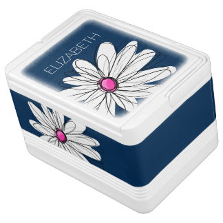 Trendy Daisy Floral Illustration - navy and pink Igloo Cool Box